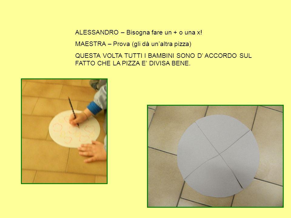 ALESSANDRO – Bisogna fare un + o una x! MAESTRA – Prova (gli dà un'altra pizza) QUESTA VOLTA TUTTI I BAMBINI SONO D' ACCORDO SUL FATTO CHE LA PIZZA E'