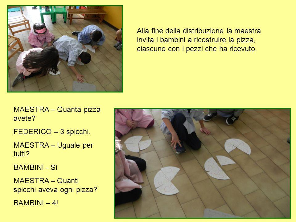 Alla fine della distribuzione la maestra invita i bambini a ricostruire la pizza, ciascuno con i pezzi che ha ricevuto. MAESTRA – Quanta pizza avete?