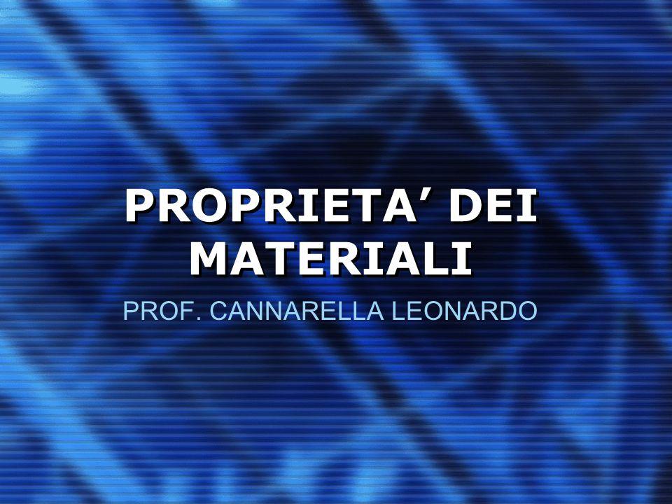 PROPRIETA' DEI MATERIALI PROF. CANNARELLA LEONARDO