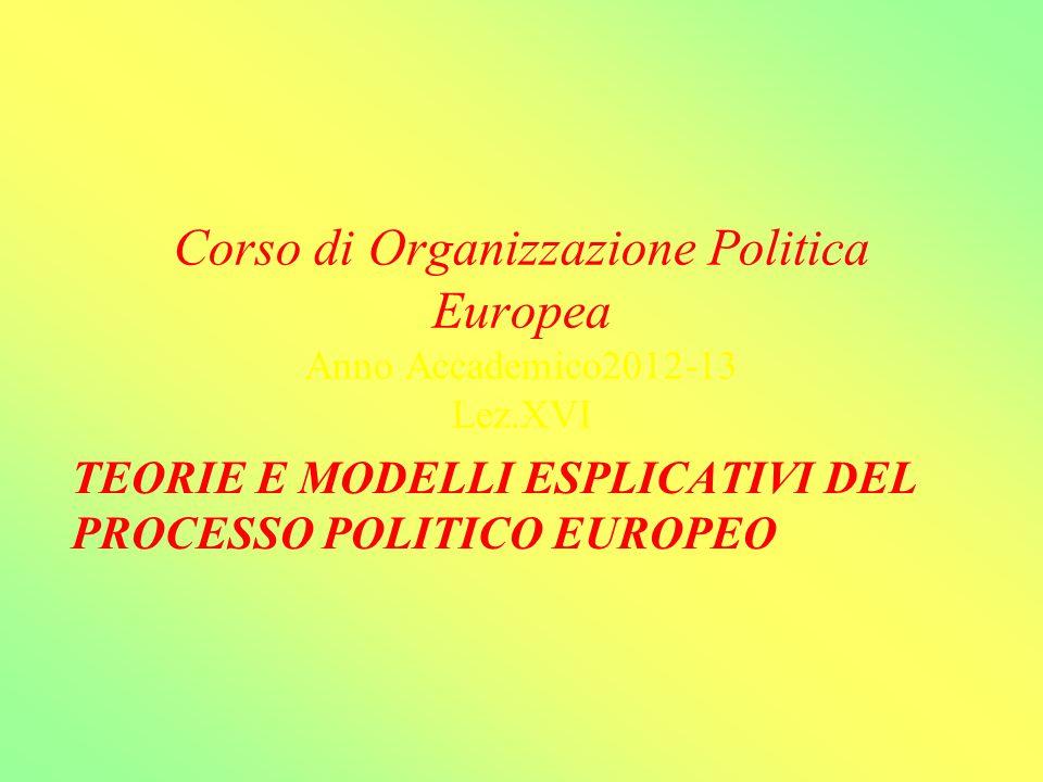 Corso di Organizzazione Politica Europea Anno Accademico2012-13 Lez.XVI TEORIE E MODELLI ESPLICATIVI DEL PROCESSO POLITICO EUROPEO