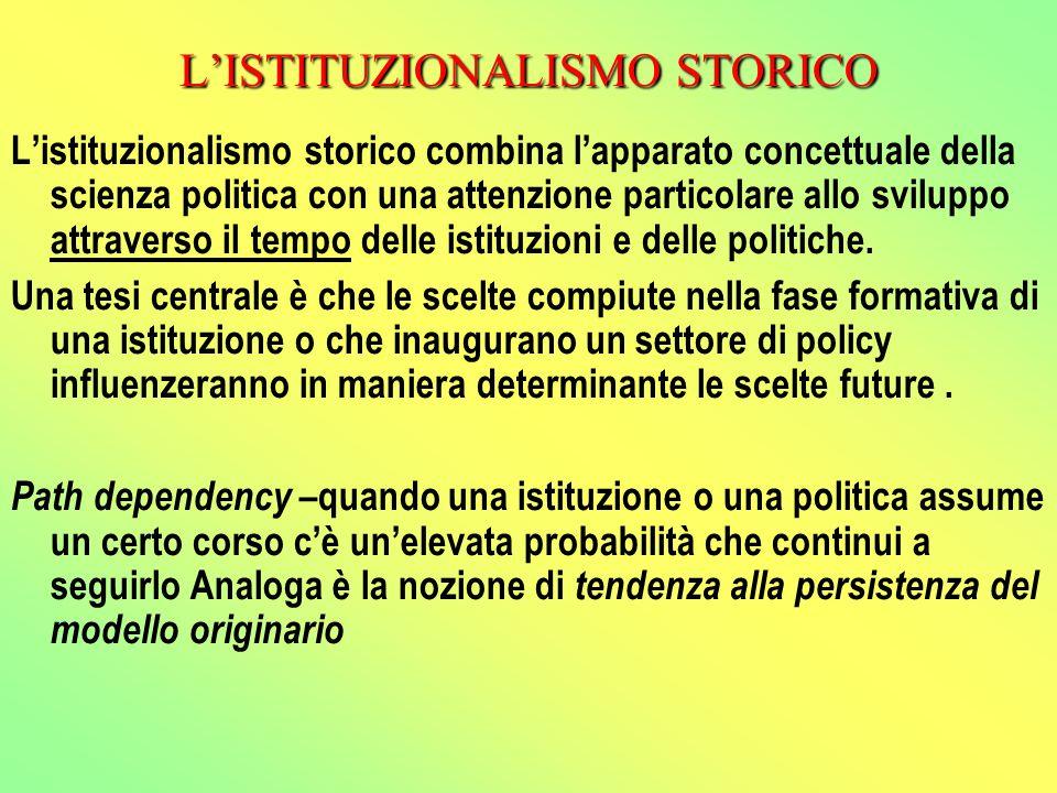 L'ISTITUZIONALISMO STORICO L'istituzionalismo storico combina l'apparato concettuale della scienza politica con una attenzione particolare allo sviluppo attraverso il tempo delle istituzioni e delle politiche.