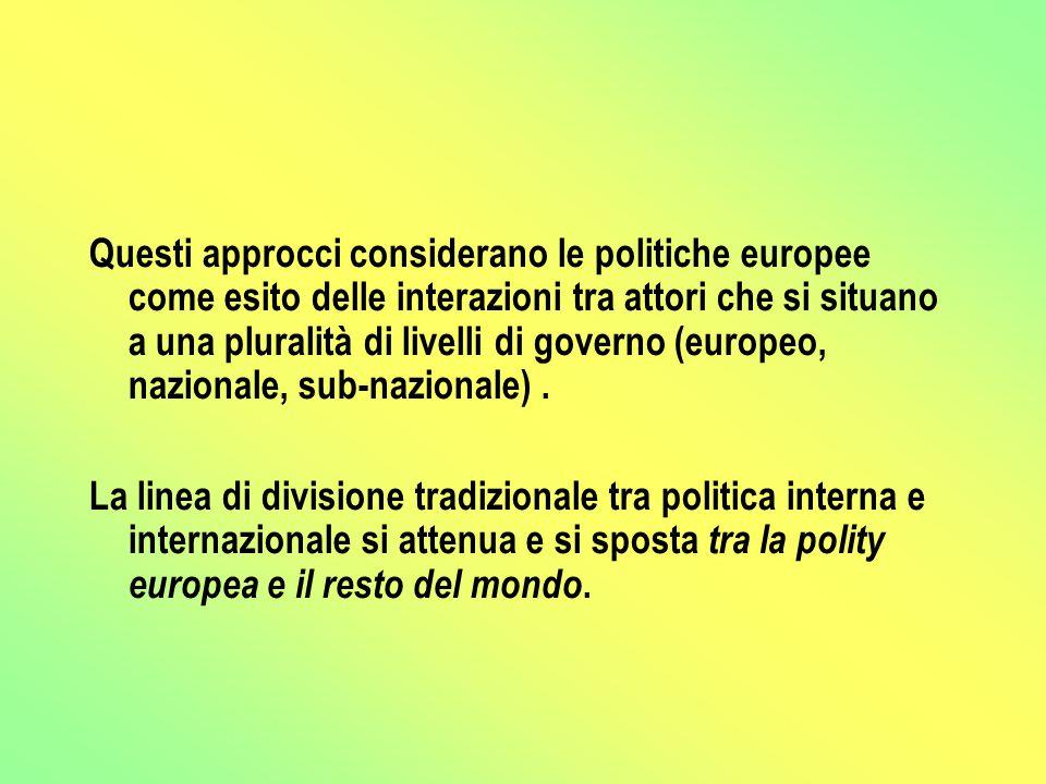 Questi approcci considerano le politiche europee come esito delle interazioni tra attori che si situano a una pluralità di livelli di governo (europeo, nazionale, sub-nazionale).