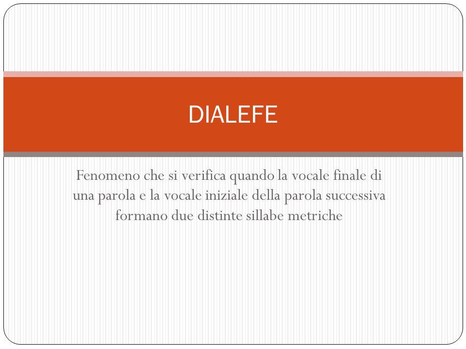 Fenomeno che si verifica quando la vocale finale di una parola e la vocale iniziale della parola successiva formano due distinte sillabe metriche DIAL
