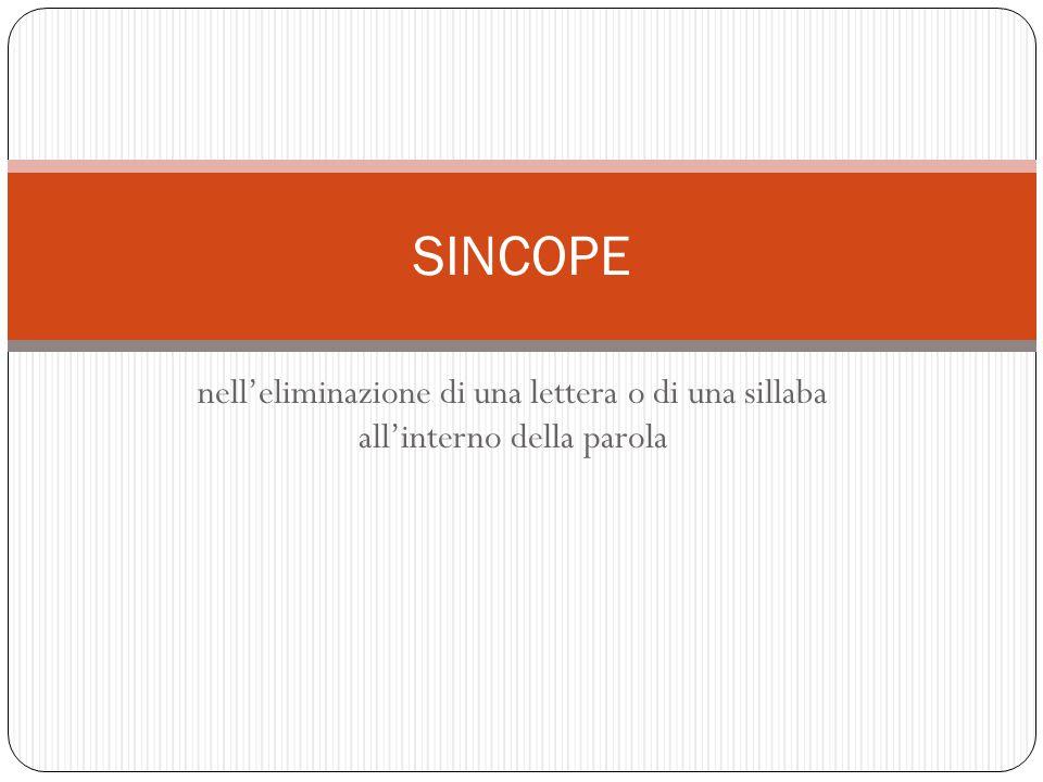 nell'eliminazione di una lettera o di una sillaba all'interno della parola SINCOPE