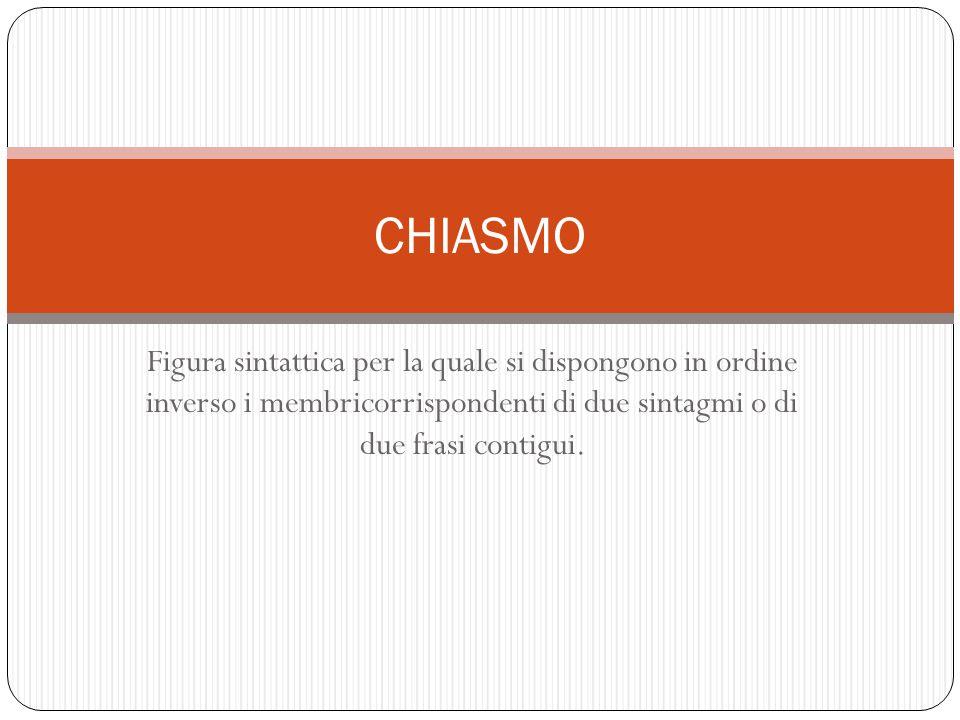 Figura sintattica per la quale si dispongono in ordine inverso i membricorrispondenti di due sintagmi o di due frasi contigui. CHIASMO