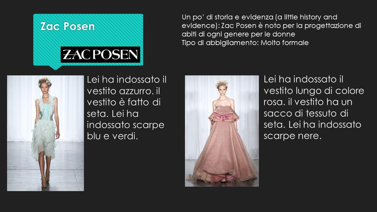 Zac Posen Zac Posen Lei ha indossato il vestito azzurro. il vestito è fatto di seta. Lei ha indossato scarpe blu e verdi. Lei ha indossato il vestito