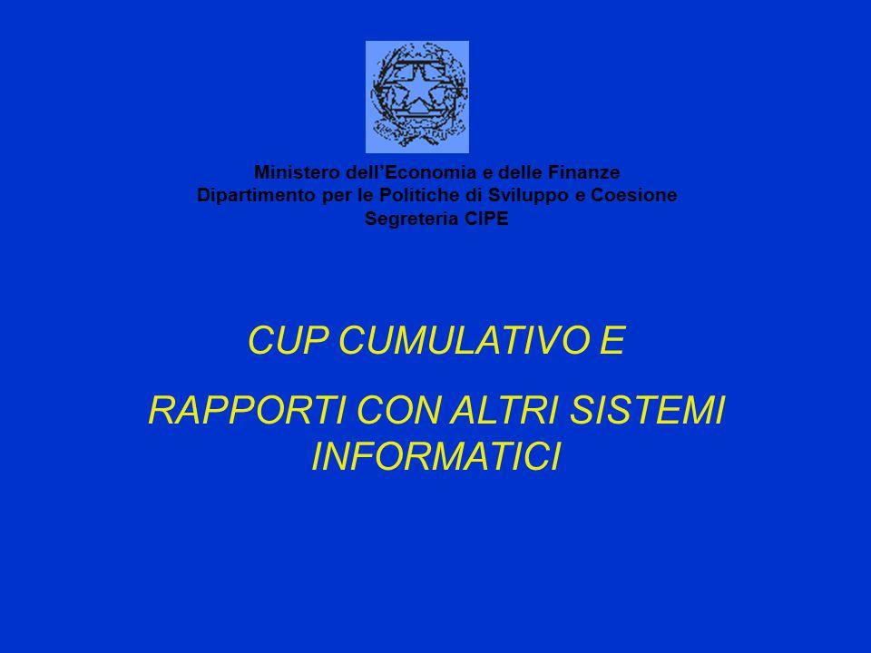CUP CUMULATIVO E RAPPORTI CON ALTRI SISTEMI INFORMATICI Ministero dell'Economia e delle Finanze Dipartimento per le Politiche di Sviluppo e Coesione Segreteria CIPE