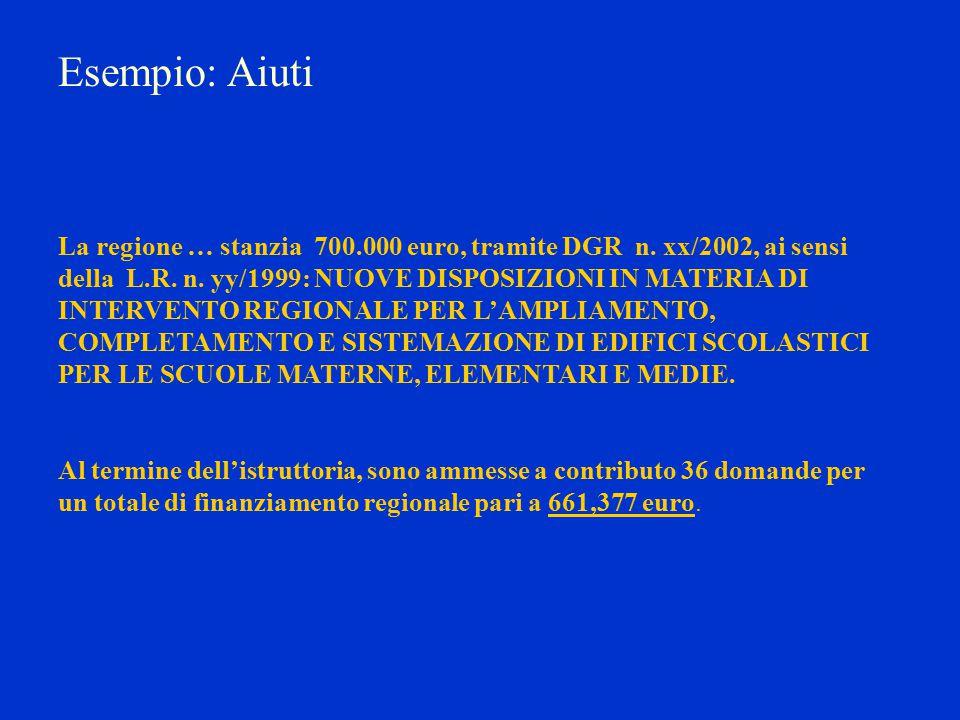 Esempio: Aiuti La regione … stanzia 700.000 euro, tramite DGR n.