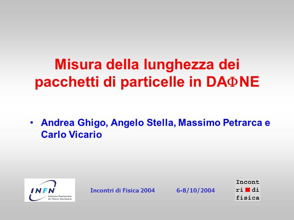 Misura della lunghezza dei pacchetti di particelle in DA  NE Andrea Ghigo, Angelo Stella, Massimo Petrarca e Carlo Vicario Incontri di Fisica 20046-8/10/2004