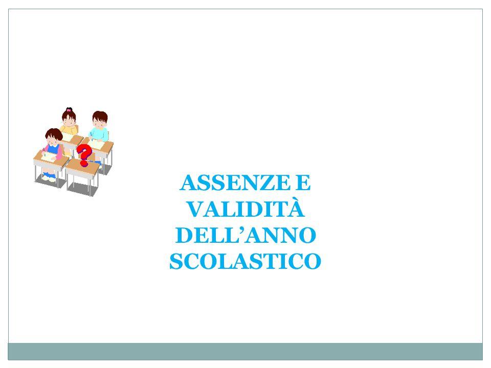 ASSENZE E VALIDITÀ DELL'ANNO SCOLASTICO
