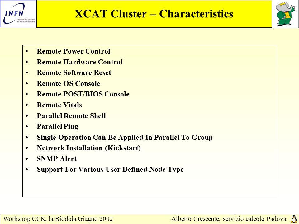Workshop CCR, la Biodola Giugno 2002Alberto Crescente, servizio calcolo Padova XCAT Cluster – Files Configuraton Nodehm.tab xCAT node hardware management table.