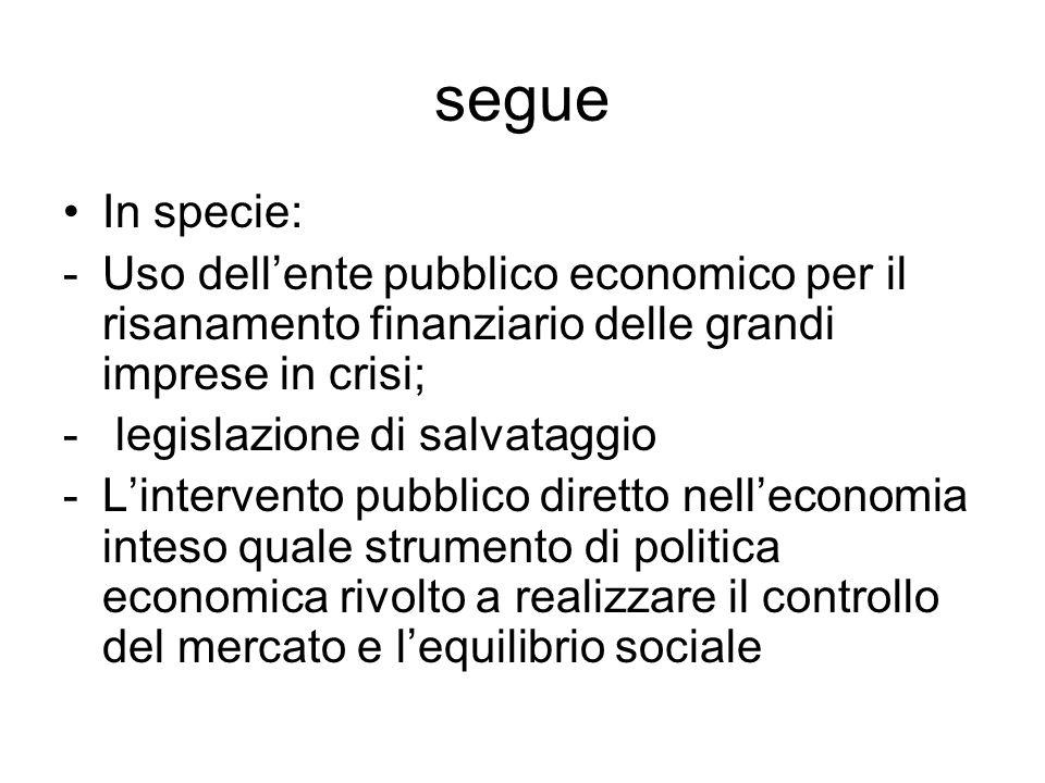 segue In specie: -Uso dell'ente pubblico economico per il risanamento finanziario delle grandi imprese in crisi; - legislazione di salvataggio -L'inte