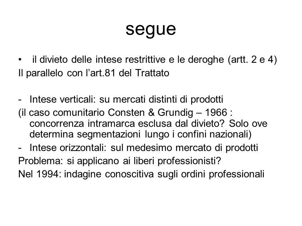 segue il divieto delle intese restrittive e le deroghe (artt. 2 e 4) Il parallelo con l'art.81 del Trattato -Intese verticali: su mercati distinti di