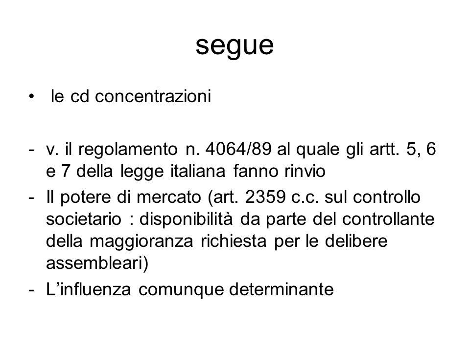 segue le cd concentrazioni -v.il regolamento n. 4064/89 al quale gli artt.