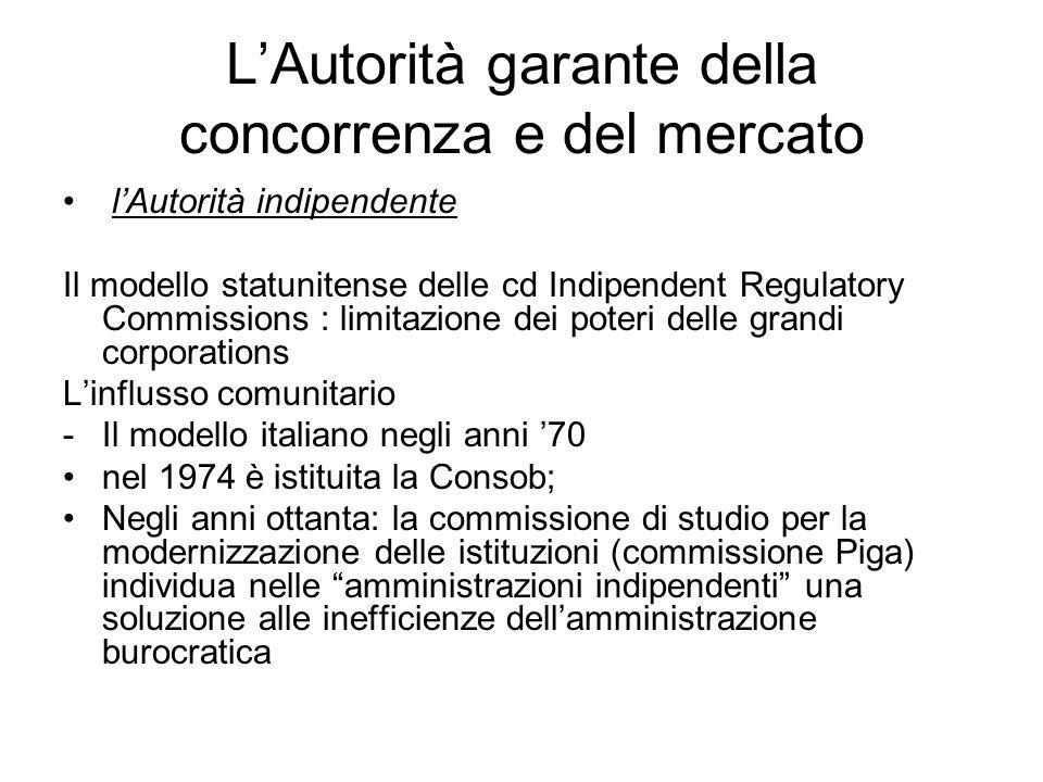 L'Autorità garante della concorrenza e del mercato l'Autorità indipendente Il modello statunitense delle cd Indipendent Regulatory Commissions : limit
