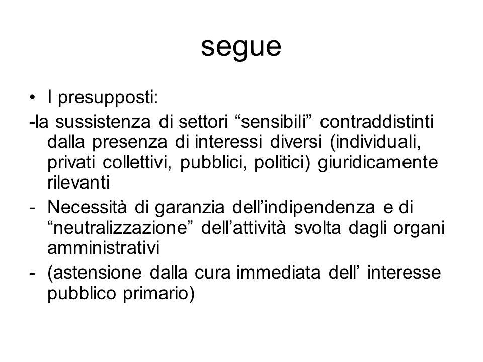 """segue I presupposti: -la sussistenza di settori """"sensibili"""" contraddistinti dalla presenza di interessi diversi (individuali, privati collettivi, pubb"""