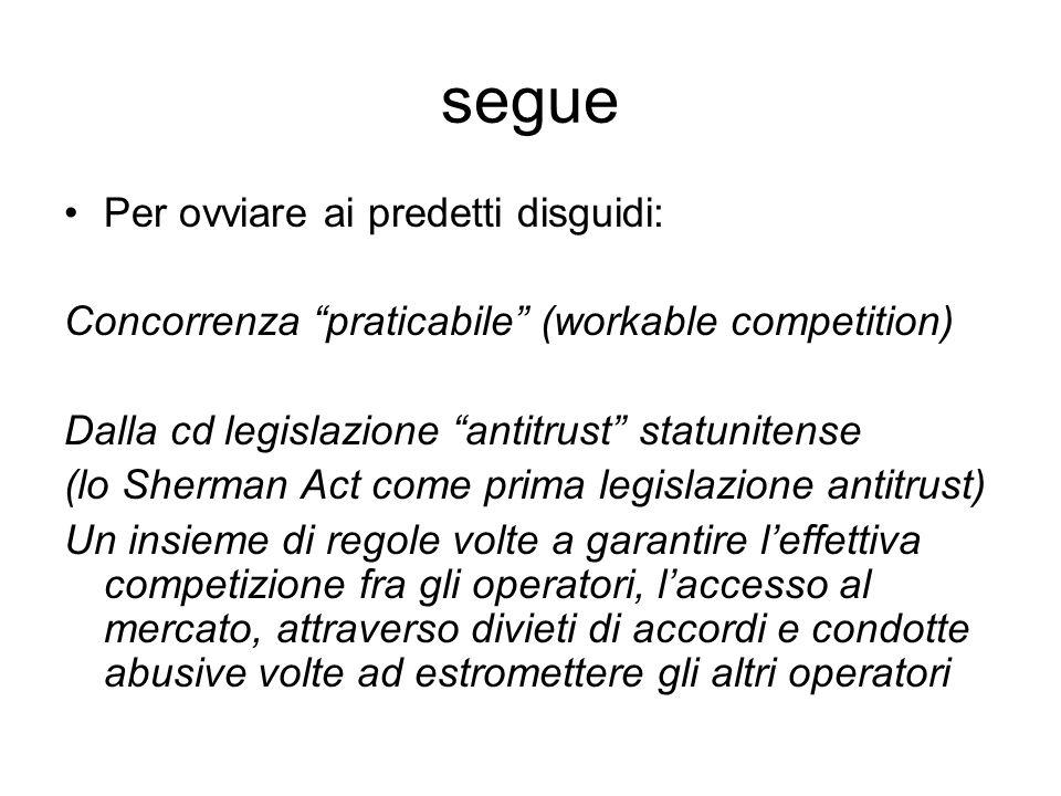 """segue Per ovviare ai predetti disguidi: Concorrenza """"praticabile"""" (workable competition) Dalla cd legislazione """"antitrust"""" statunitense (lo Sherman Ac"""