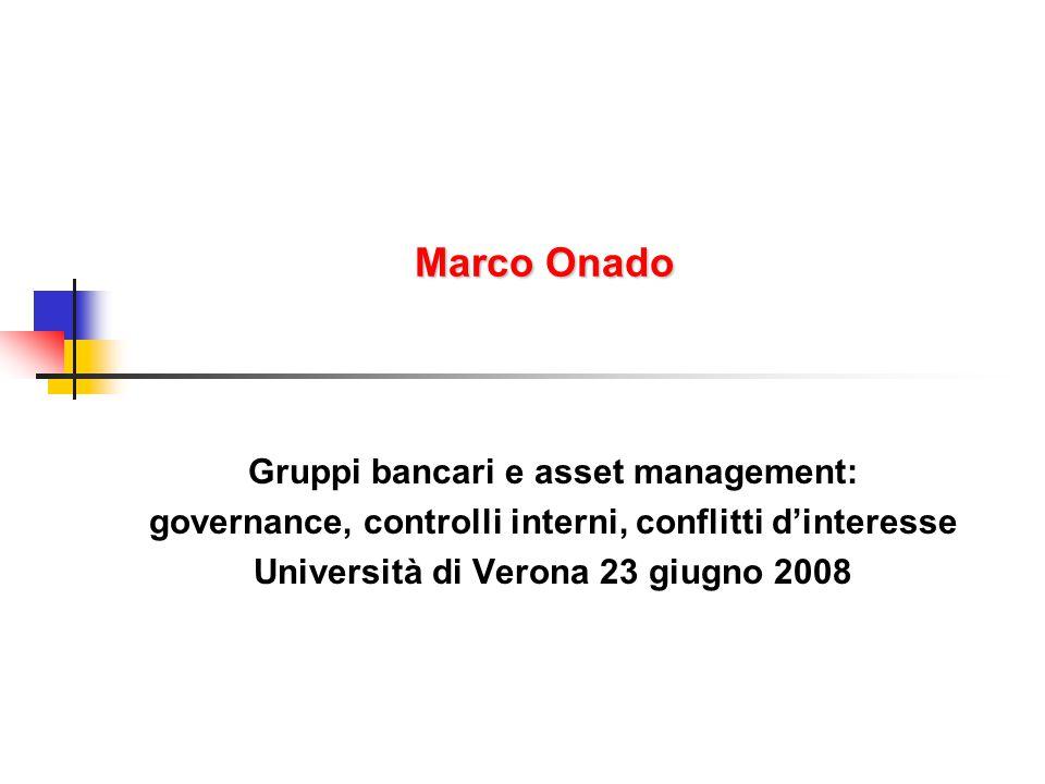 Marco Onado Gruppi bancari e asset management: governance, controlli interni, conflitti d'interesse Università di Verona 23 giugno 2008