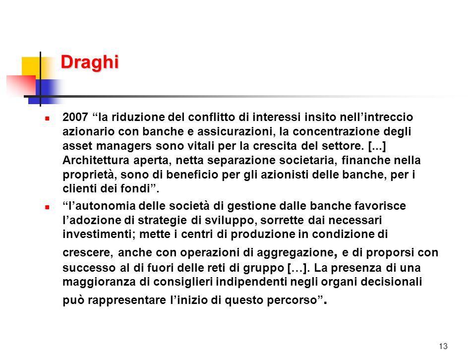 Draghi 2007 la riduzione del conflitto di interessi insito nell'intreccio azionario con banche e assicurazioni, la concentrazione degli asset managers sono vitali per la crescita del settore.