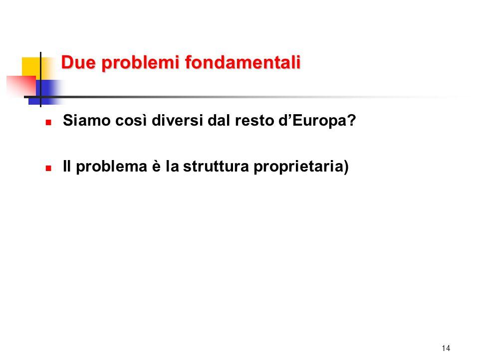 Due problemi fondamentali Siamo così diversi dal resto d'Europa.
