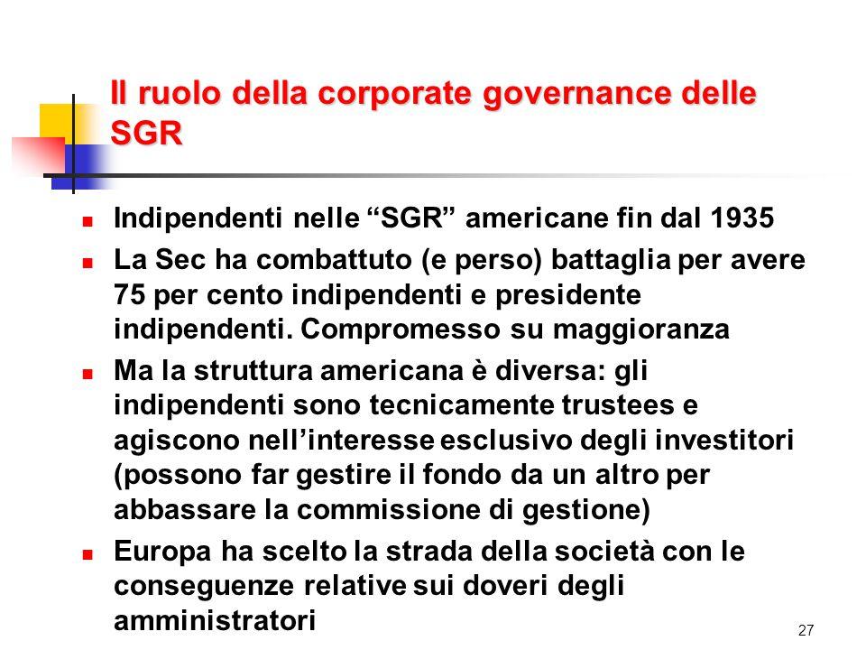 Il ruolo della corporate governance delle SGR Indipendenti nelle SGR americane fin dal 1935 La Sec ha combattuto (e perso) battaglia per avere 75 per cento indipendenti e presidente indipendenti.