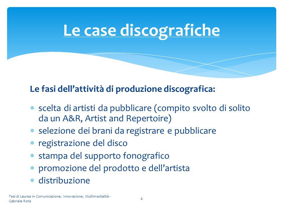 Le fasi dell'attività di produzione discografica:  scelta di artisti da pubblicare (compito svolto di solito da un A&R, Artist and Repertoire)  sele
