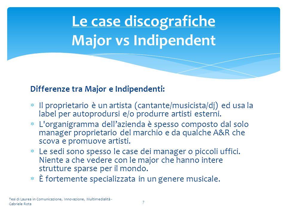 Differenze tra Major e Indipendenti:  Il proprietario è un artista (cantante/musicista/dj) ed usa la label per autoprodursi e/o produrre artisti este