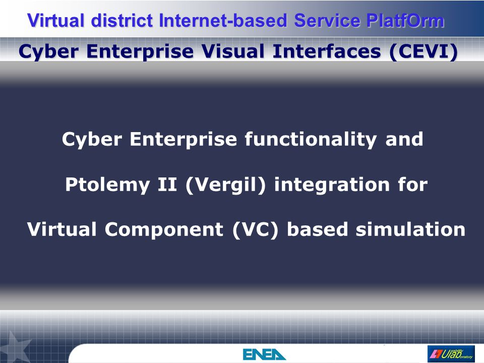 Virtual district Internet-based Service PlatfOrm Multimedia Database integration Information flows among CE, Web, user and provider's VC server.