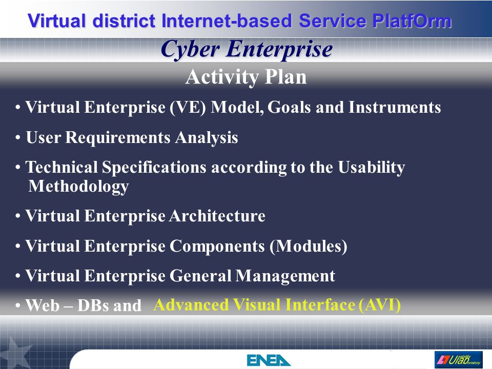 Virtual district Internet-based Service PlatfOrm A global view VC's HOST Process executor server Cyber Enterprise HOST AVI Query server IDS server I/O server DB's HOST Oracle/Access DBMS User HOST Browser JRE 1.4 PTolemy II VEC VCM