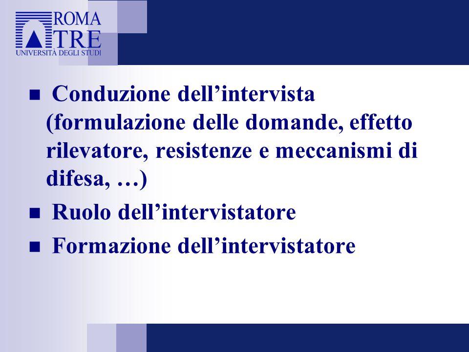 Conduzione dell'intervista (formulazione delle domande, effetto rilevatore, resistenze e meccanismi di difesa, …) Ruolo dell'intervistatore Formazione