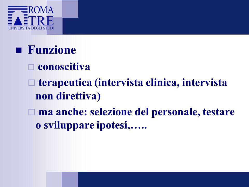Funzione  conoscitiva  terapeutica (intervista clinica, intervista non direttiva)  ma anche: selezione del personale, testare o sviluppare ipotesi,