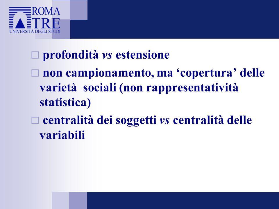  profondità vs estensione  non campionamento, ma 'copertura' delle varietà sociali (non rappresentatività statistica)  centralità dei soggetti vs c