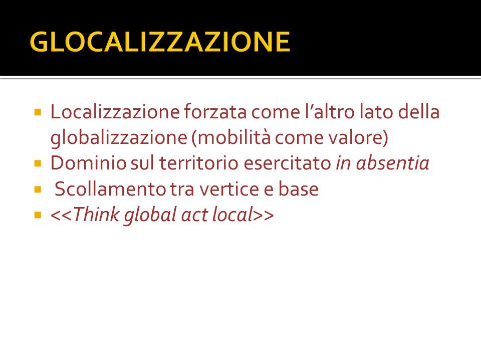  Localizzazione forzata come l'altro lato della globalizzazione (mobilità come valore)  Dominio sul territorio esercitato in absentia  Scollamento tra vertice e base  >