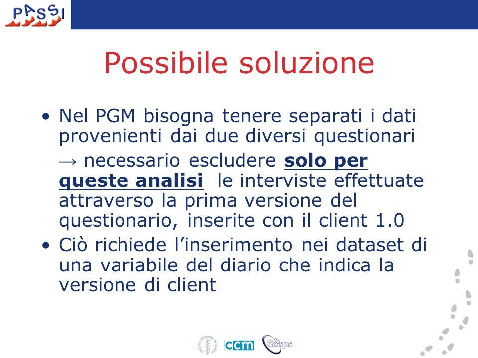 Possibile soluzione Nel PGM bisogna tenere separati i dati provenienti dai due diversi questionari → necessario escludere solo per queste analisi le i
