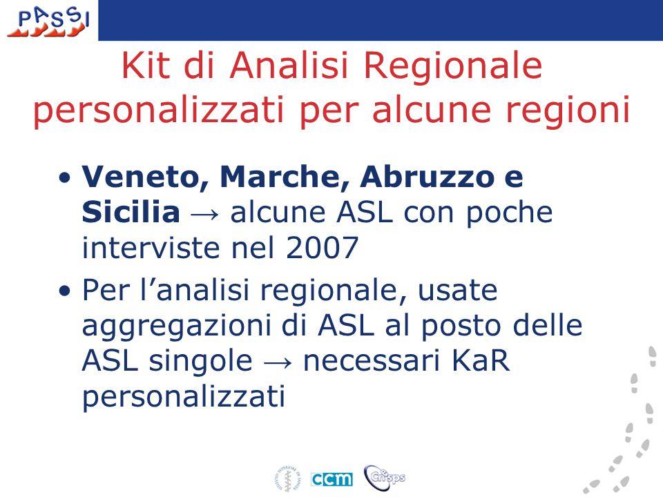 Kit di Analisi Regionale personalizzati per alcune regioni Veneto, Marche, Abruzzo e Sicilia → alcune ASL con poche interviste nel 2007 Per l'analisi
