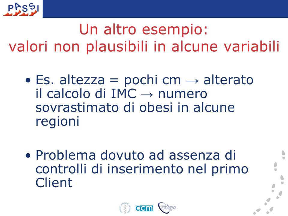 Un altro esempio: valori non plausibili in alcune variabili Es. altezza = pochi cm → alterato il calcolo di IMC → numero sovrastimato di obesi in alcu
