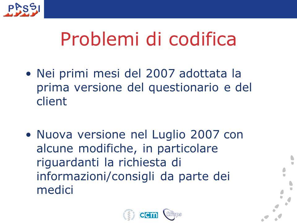 Problemi di codifica Nei primi mesi del 2007 adottata la prima versione del questionario e del client Nuova versione nel Luglio 2007 con alcune modifiche, in particolare riguardanti la richiesta di informazioni/consigli da parte dei medici