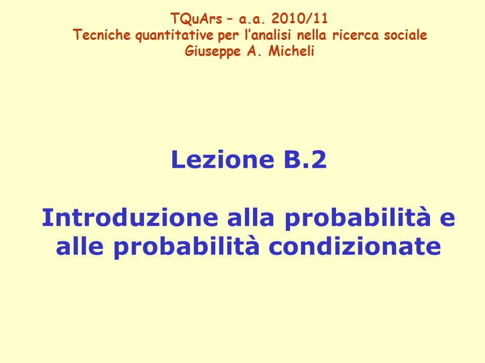 Lezione B.2 Introduzione alla probabilità e alle probabilità condizionate TQuArs – a.a. 2010/11 Tecniche quantitative per l'analisi nella ricerca soci