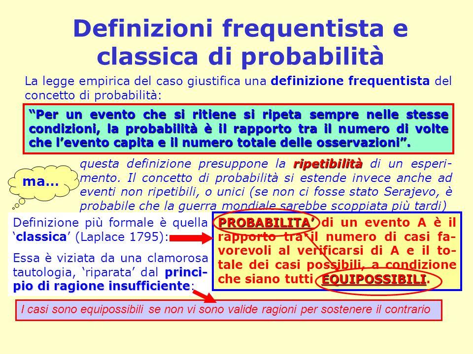 Definizioni frequentista e classica di probabilità La legge empirica del caso giustifica una definizione frequentista del concetto di probabilità: rip