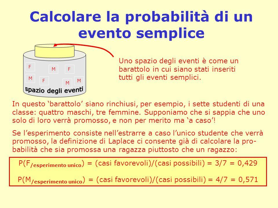 Calcolare la probabilità di un evento semplice F M F M M M F Uno spazio degli eventi è come un barattolo in cui siano stati inseriti tutti gli eventi