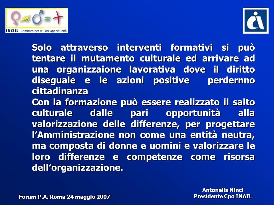 Antonella Ninci Presidente Cpo INAIL Solo attraverso interventi formativi si può tentare il mutamento culturale ed arrivare ad una organizzaione lavor