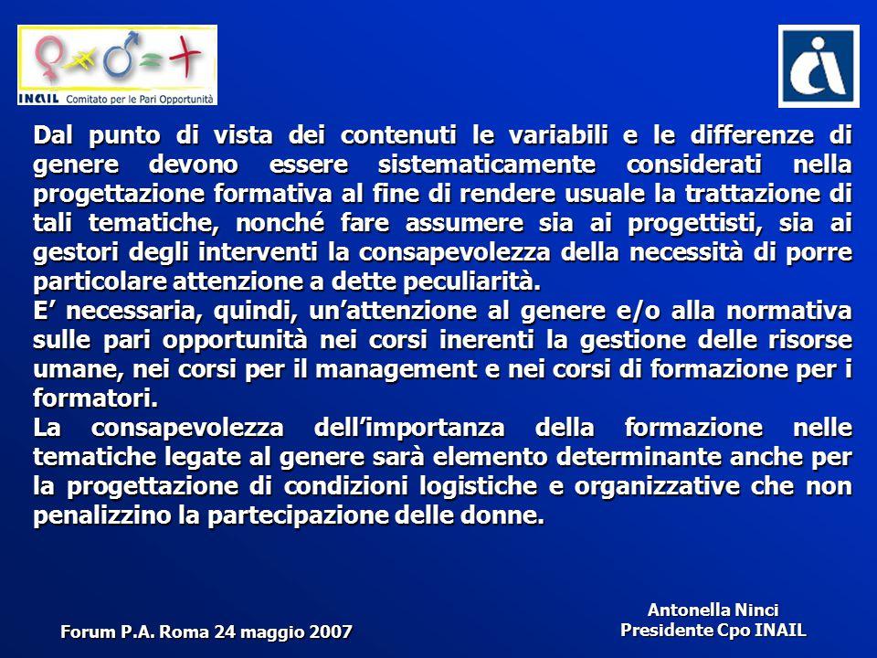 Antonella Ninci Presidente Cpo INAIL Dal punto di vista dei contenuti le variabili e le differenze di genere devono essere sistematicamente considerat