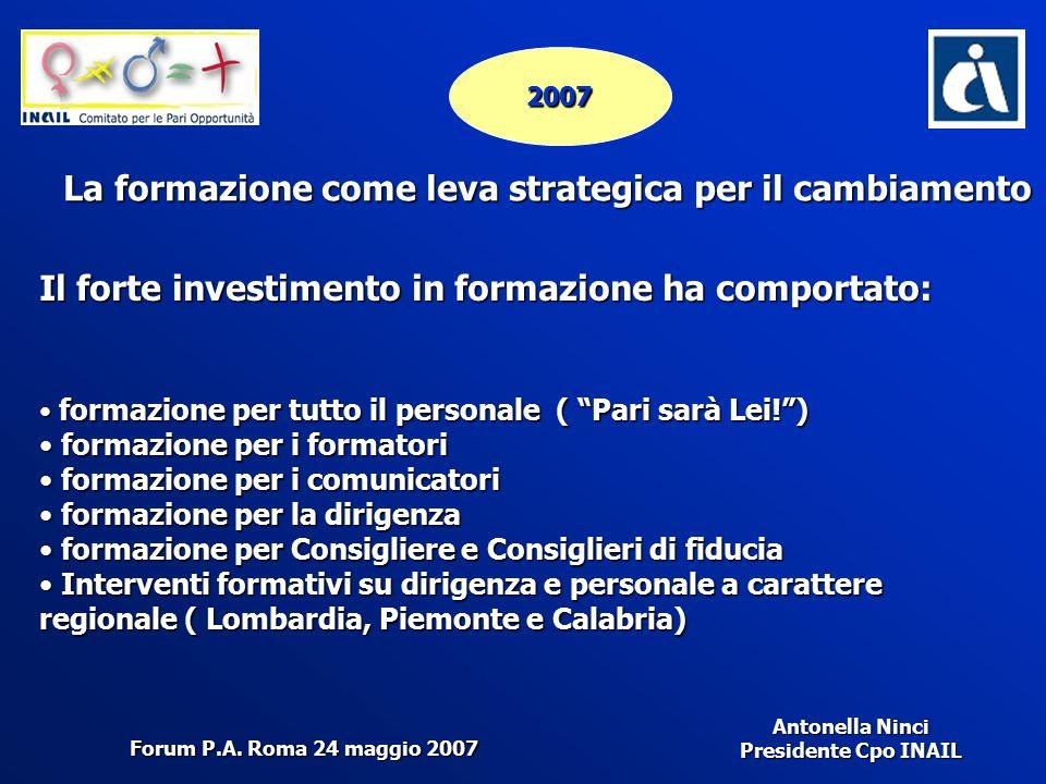 Antonella Ninci Presidente Cpo INAIL 2007 La formazione come leva strategica per il cambiamento Il forte investimento in formazione ha comportato: for