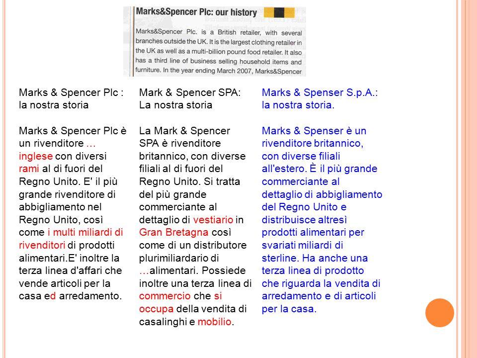 Marks & Spencer Plc : la nostra storia Marks & Spencer Plc è un rivenditore … inglese con diversi rami al di fuori del Regno Unito. E' il più grande r