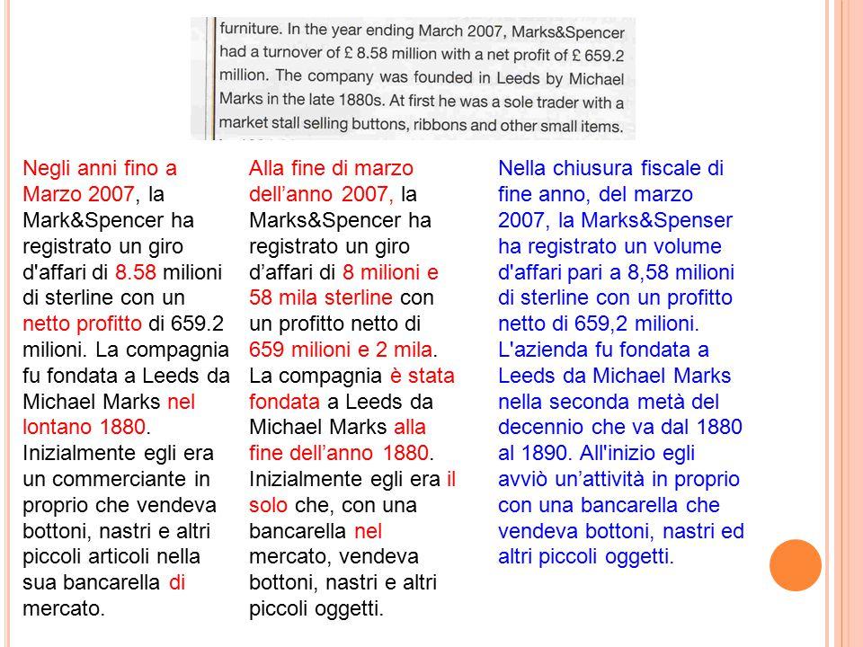 Negli anni fino a Marzo 2007, la Mark&Spencer ha registrato un giro d affari di 8.58 milioni di sterline con un netto profitto di 659.2 milioni.
