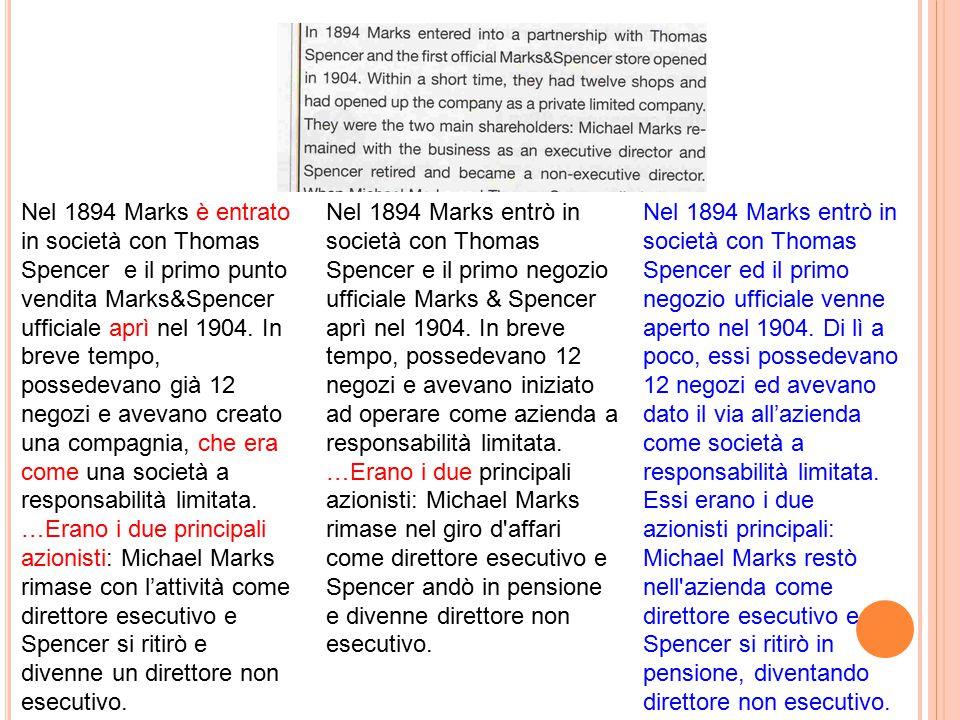 Nel 1894 Marks è entrato in società con Thomas Spencer e il primo punto vendita Marks&Spencer ufficiale aprì nel 1904. In breve tempo, possedevano già