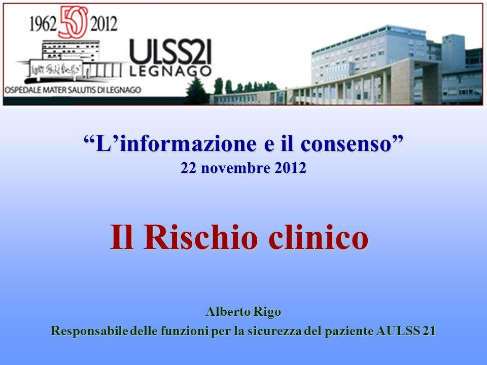 """""""L'informazione e il consenso"""" 22 novembre 2012 Il Rischio clinico Alberto Rigo Responsabile delle funzioni per la sicurezza del paziente AULSS 21"""