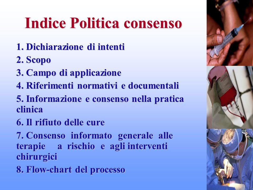 Indice Politica consenso 1. Dichiarazione di intenti 2. Scopo 3. Campo di applicazione 4. Riferimenti normativi e documentali 5. Informazione e consen