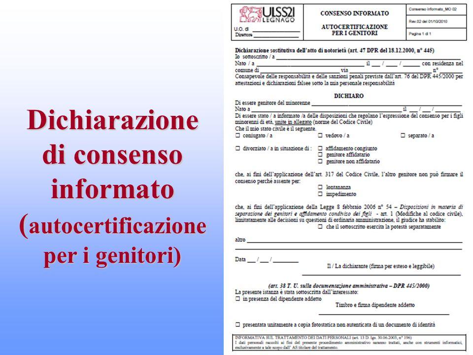 Dichiarazione di consenso informato ( autocertificazione per i genitori)