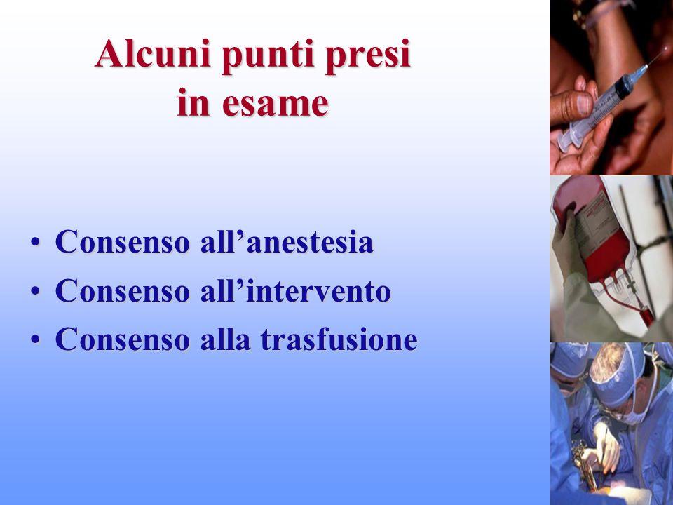 Alcuni punti presi in esame Consenso all'anestesiaConsenso all'anestesia Consenso all'interventoConsenso all'intervento Consenso alla trasfusioneConse